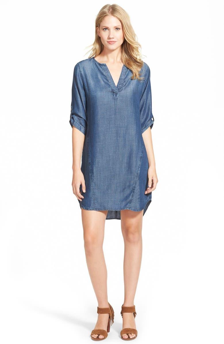 SIDE STITCH Three-Quarter Sleeve Chambray Shift Dress, Main, color, INDIGO HAZE