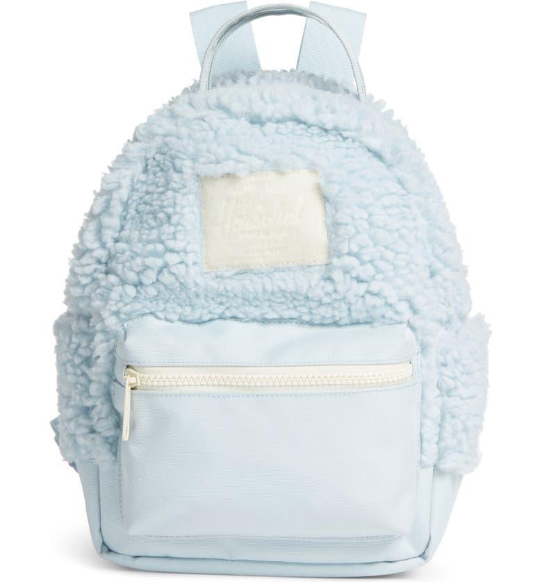 HERSCHEL SUPPLY CO. Mini Nova Fleece & Canvas Backpack, Main, color, BABY BLUE