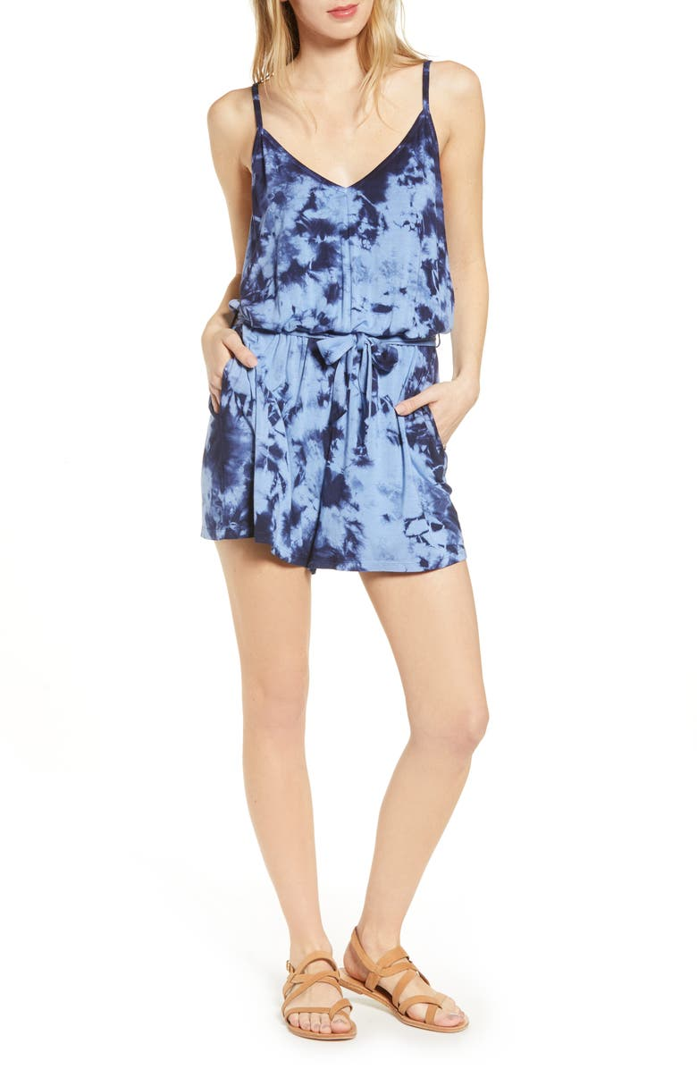 BP. Tie Dye Romper, Main, color, BLUE CORNFLOWER COMBO
