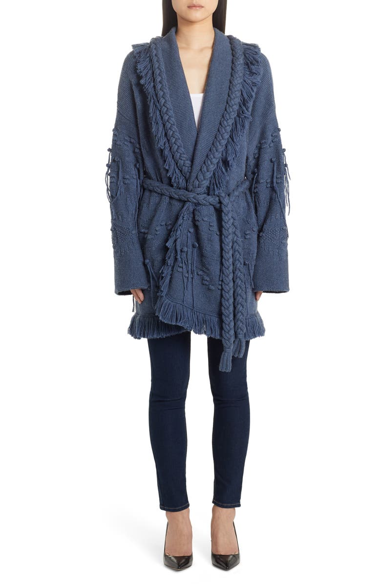 ALANUI Icon Fisherman Belted Oversize Cashmere Cardigan, Main, color, MID BLUE N
