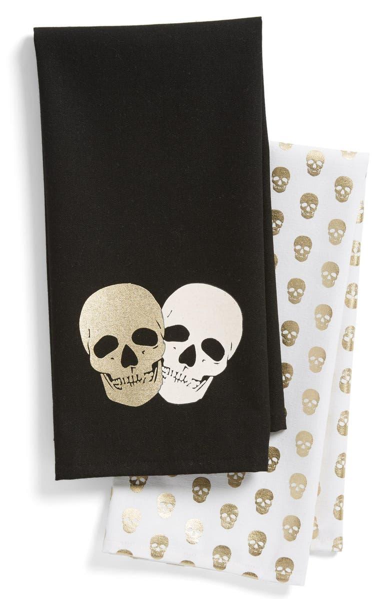 LEVTEX Skull Print Dish Towels, Main, color, 100