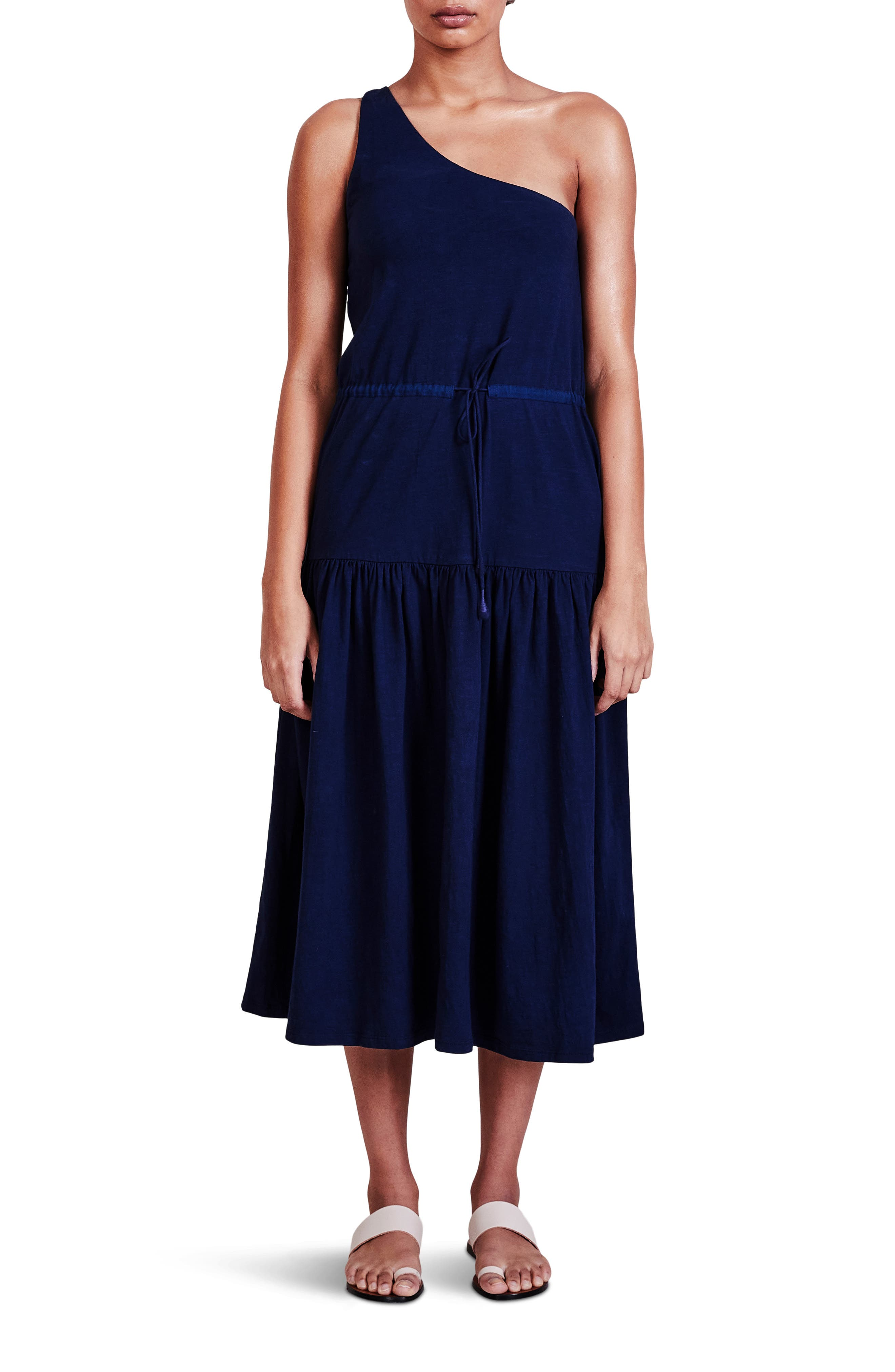 One-Shoulder Jersey Midi Dress