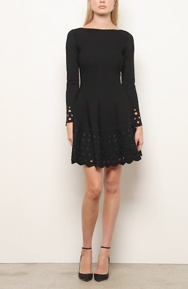 Lattice Trim Long Sleeve Fit & Flare Sweater Dress, video thumbnail