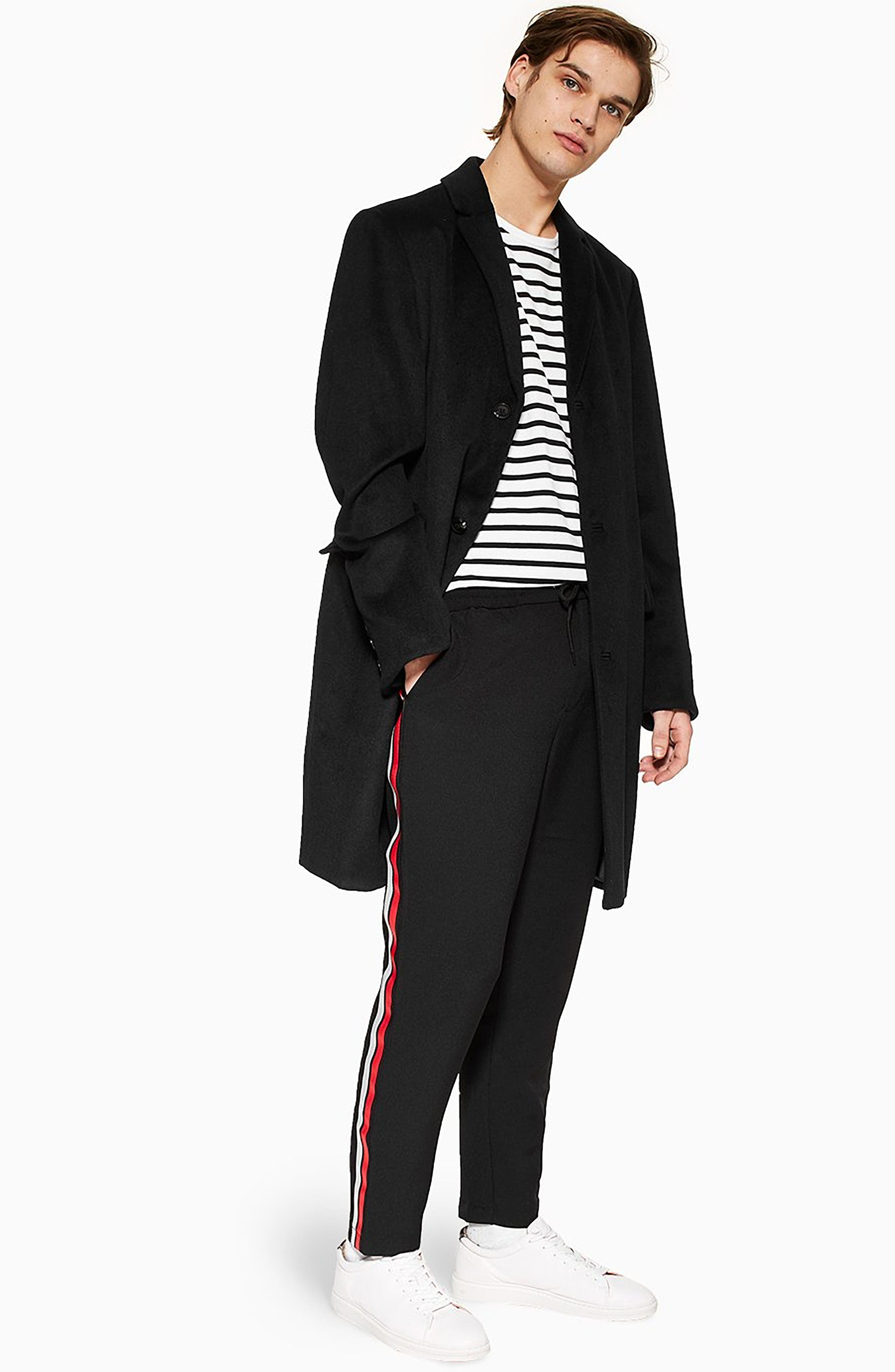 ,                             Classic Fit Side Stripe Cropped Jogger Pants,                             Alternate thumbnail 8, color,                             BLACK