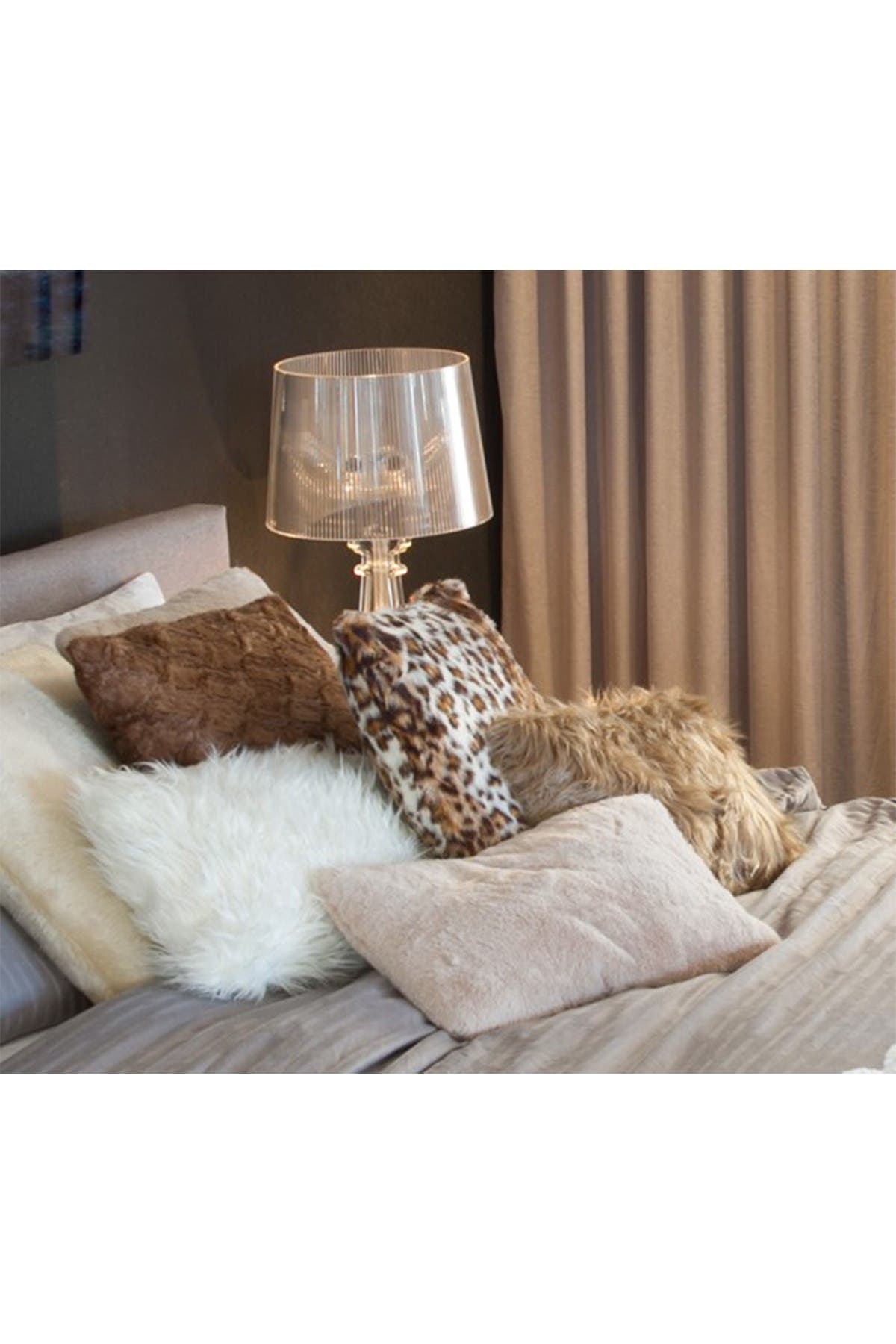 """Image of LUXE Faux Fur Belton Pillow - Pack of 2 - 12"""" x 20"""" - Brown Mink"""