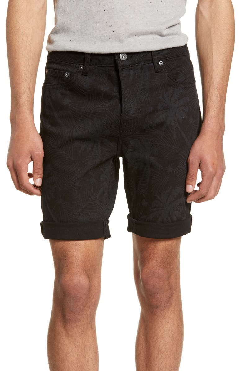 TOPMAN Skinny Fit Palm Print Denim Shorts, Main, color, WASHED BLACK