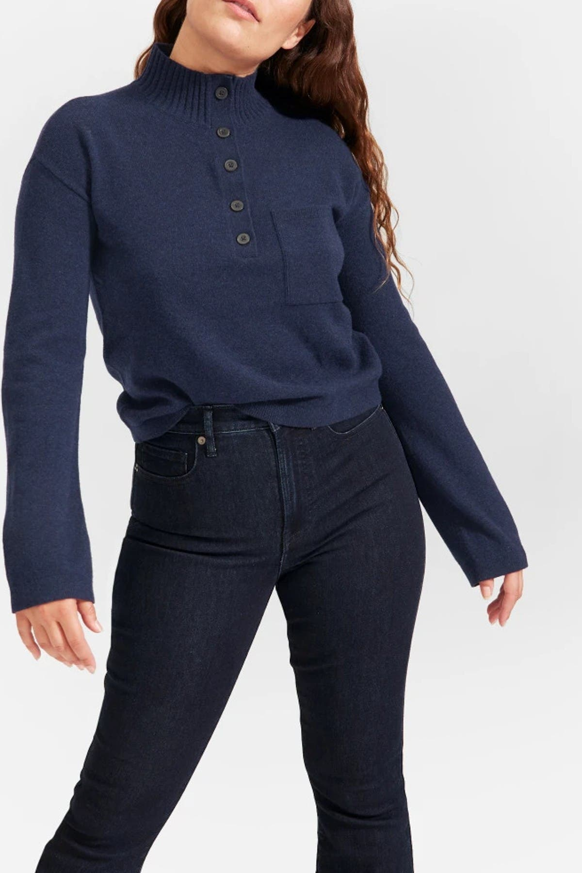 Image of EVERLANE The Recashmere Button Mock Neck Sweater