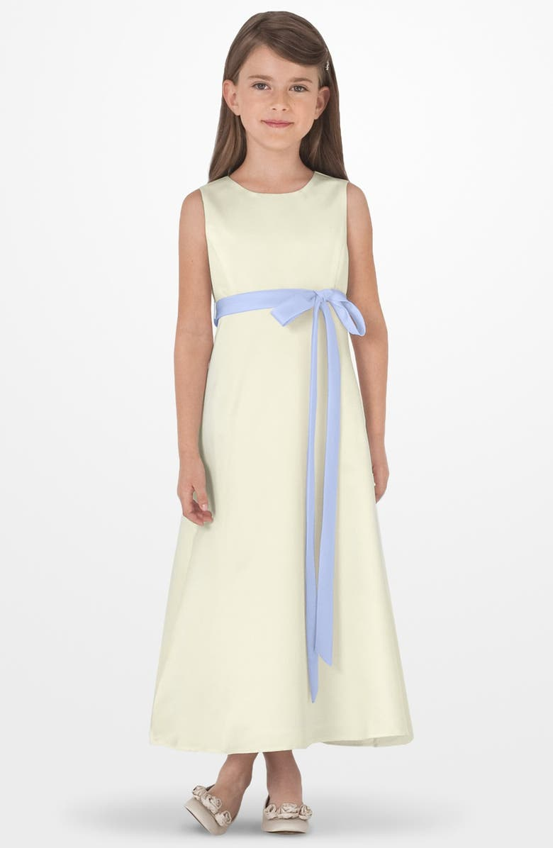US ANGELS Sleeveless Satin Dress, Main, color, Ivory/ blue