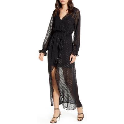 Chelsea28 Metallic Clip Dot Long Sleeve Maxi Dress, Black