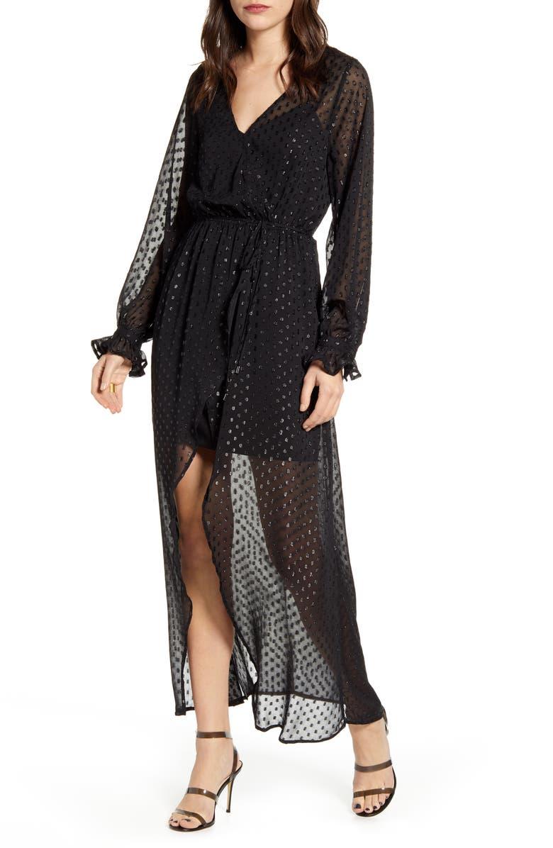 CHELSEA28 Metallic Clip Dot Long Sleeve Maxi Dress, Main, color, 001