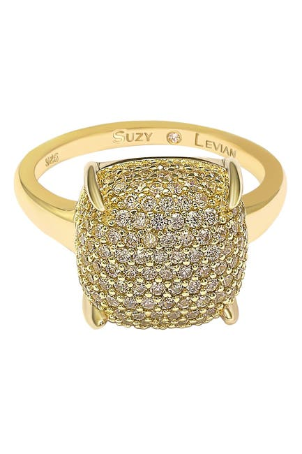 Image of Suzy Levian Yellow-Tone Sterling Silver Prong Set Cushion Shape Pave CZ Ring