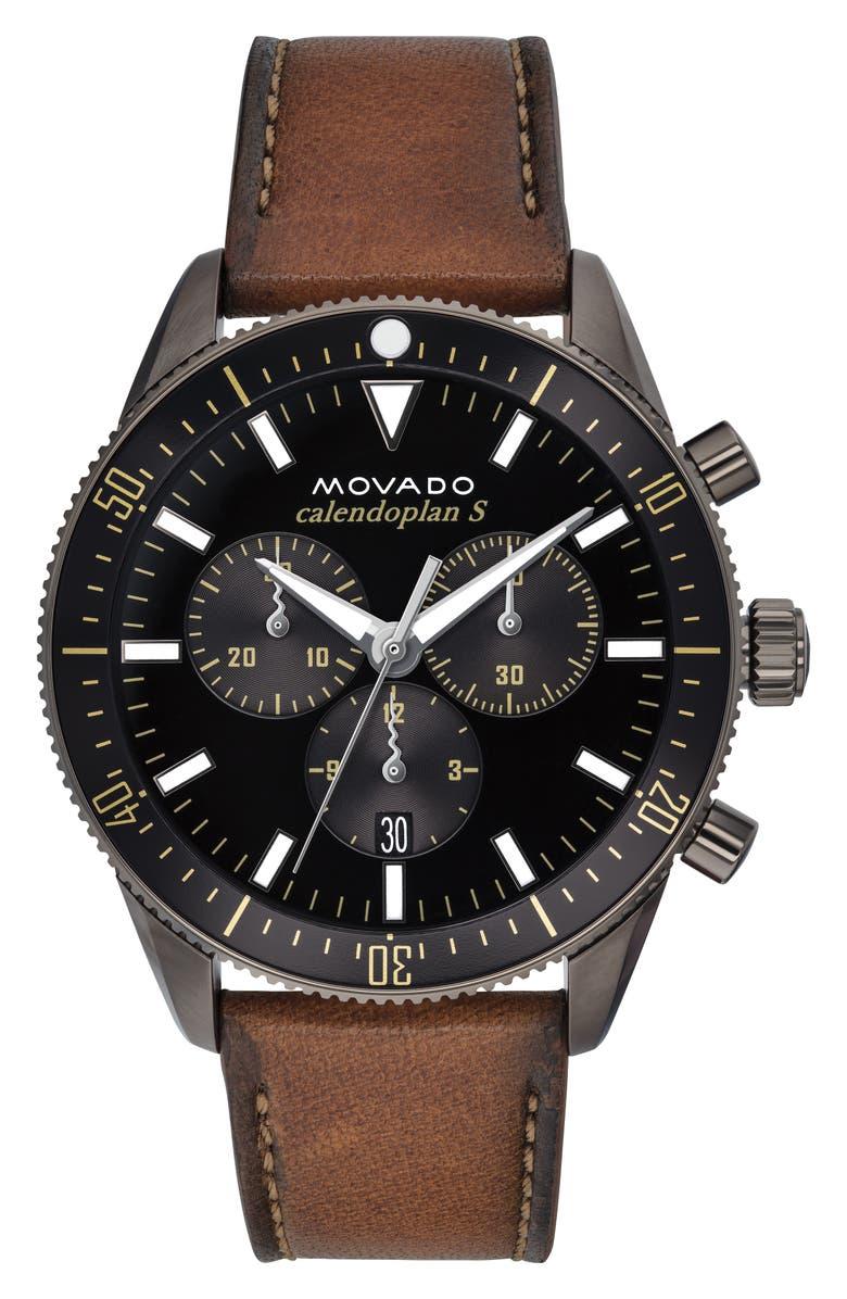 MOVADO Heritage Chrono Leather Strap Watch, 42mm, Main, color, COGNAC/ BLACK/ GREY