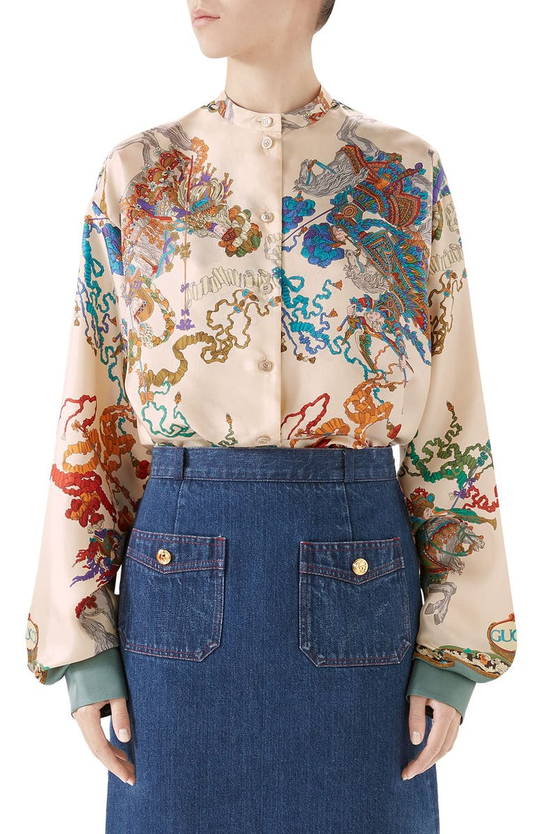GUCCI Jousting Print Silk Twill Blouse, Main, color, IVORY/ SAGE PORT