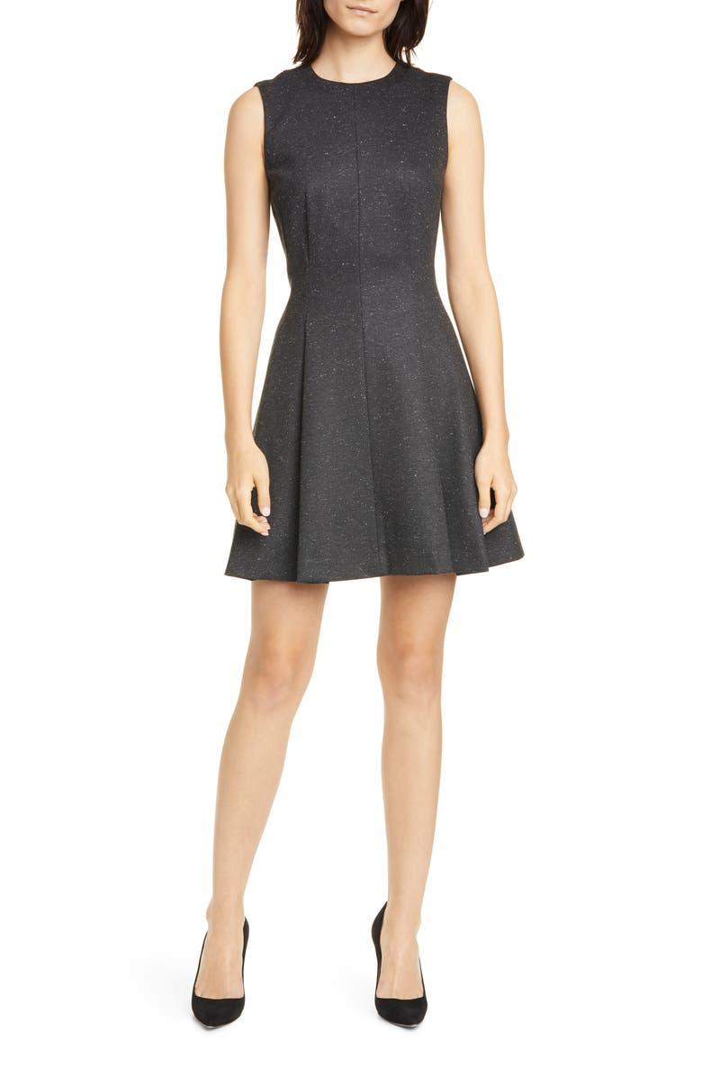 THEORY Mela Seamed Sleeveless Fit & Flare Dress, Main, color, CHARCOAL
