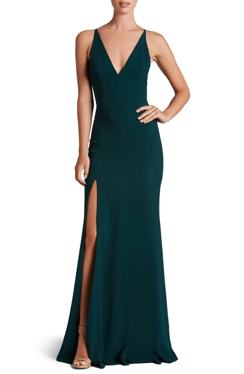 DRESS THE POPULATION Iris Slit Crepe Gown, Main, color, PINE
