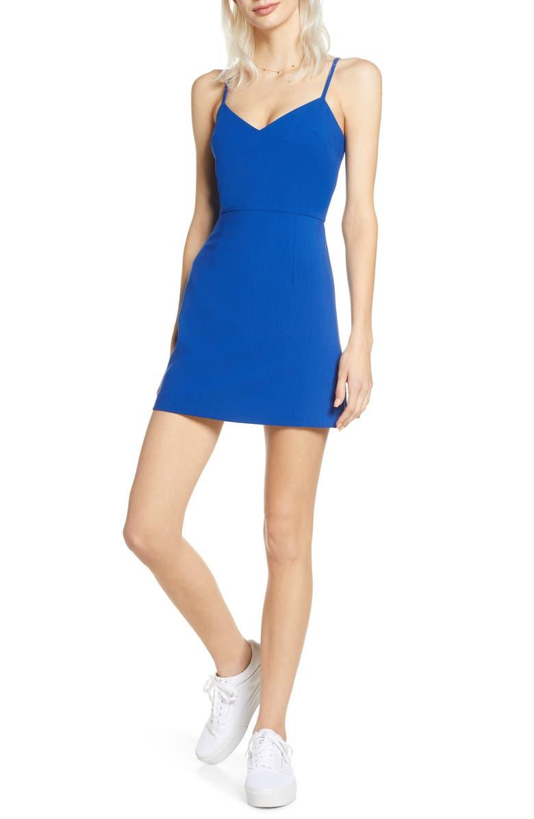 FRENCH CONNECTION Whisper V-Neck Minidress, Main, color, FRESCO BLUE