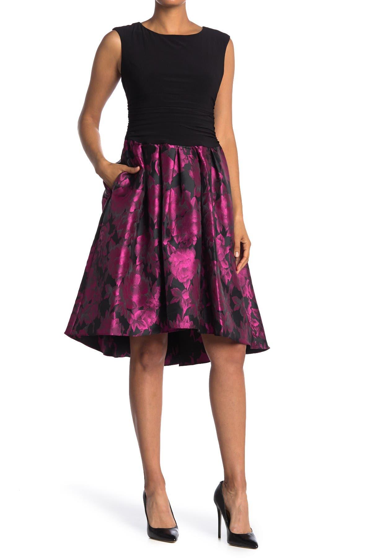 Image of SLNY Floral Jacquard Skirt Dress