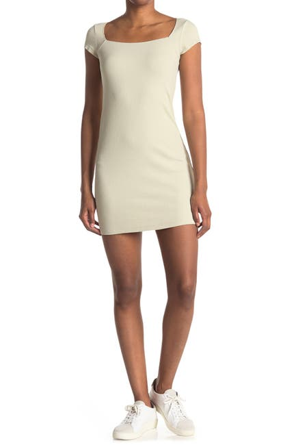 Image of Elodie Square Neck Ribbed Knit Mini Dress
