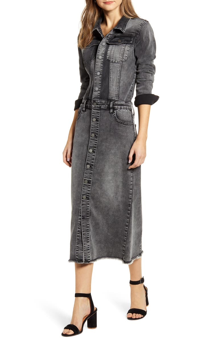 WASH LAB Long Sleeve Denim Midi Dress, Main, color, GREY