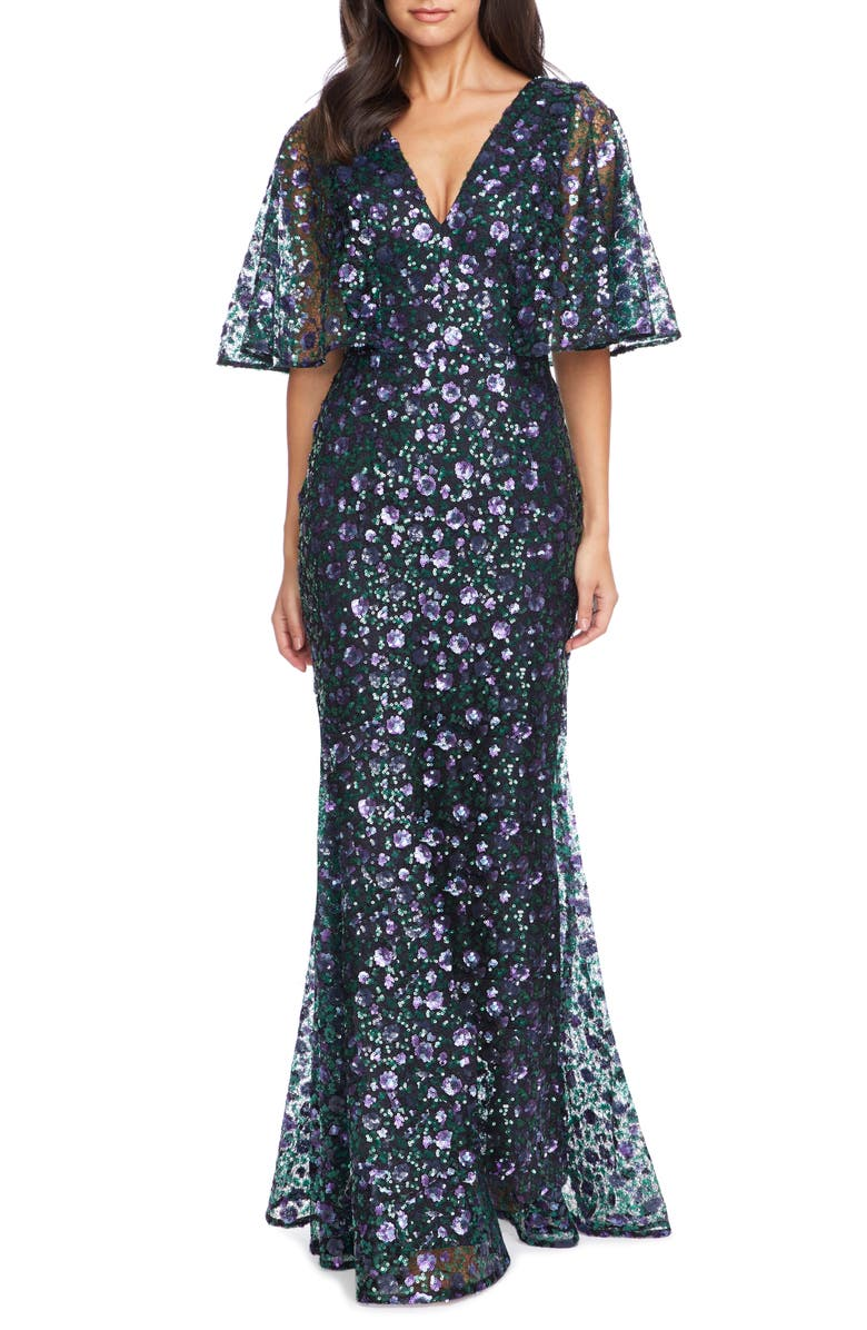 DRESS THE POPULATION Laine Sequin Lace Cape Sleeve Gown, Main, color, EMERALD-VIOLET-NAVY MULTI