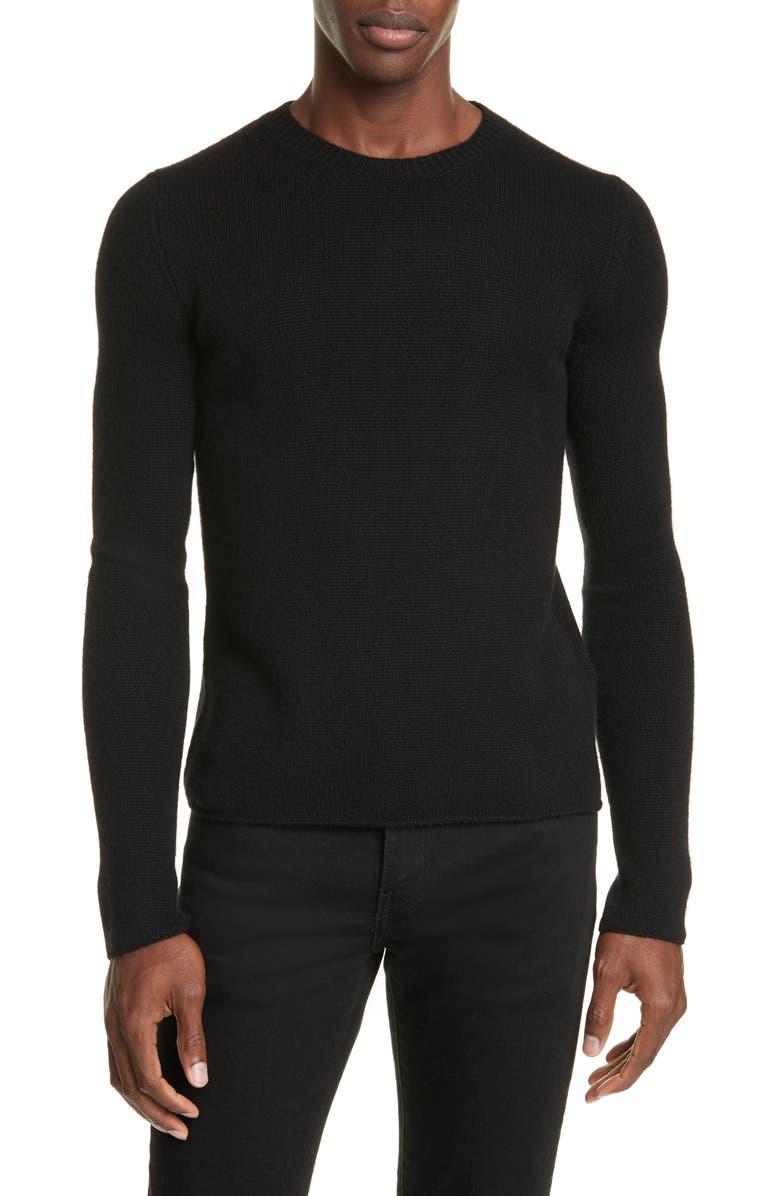 BOTTEGA VENETA Crewneck Cashmere Sweater, Main, color, NERO