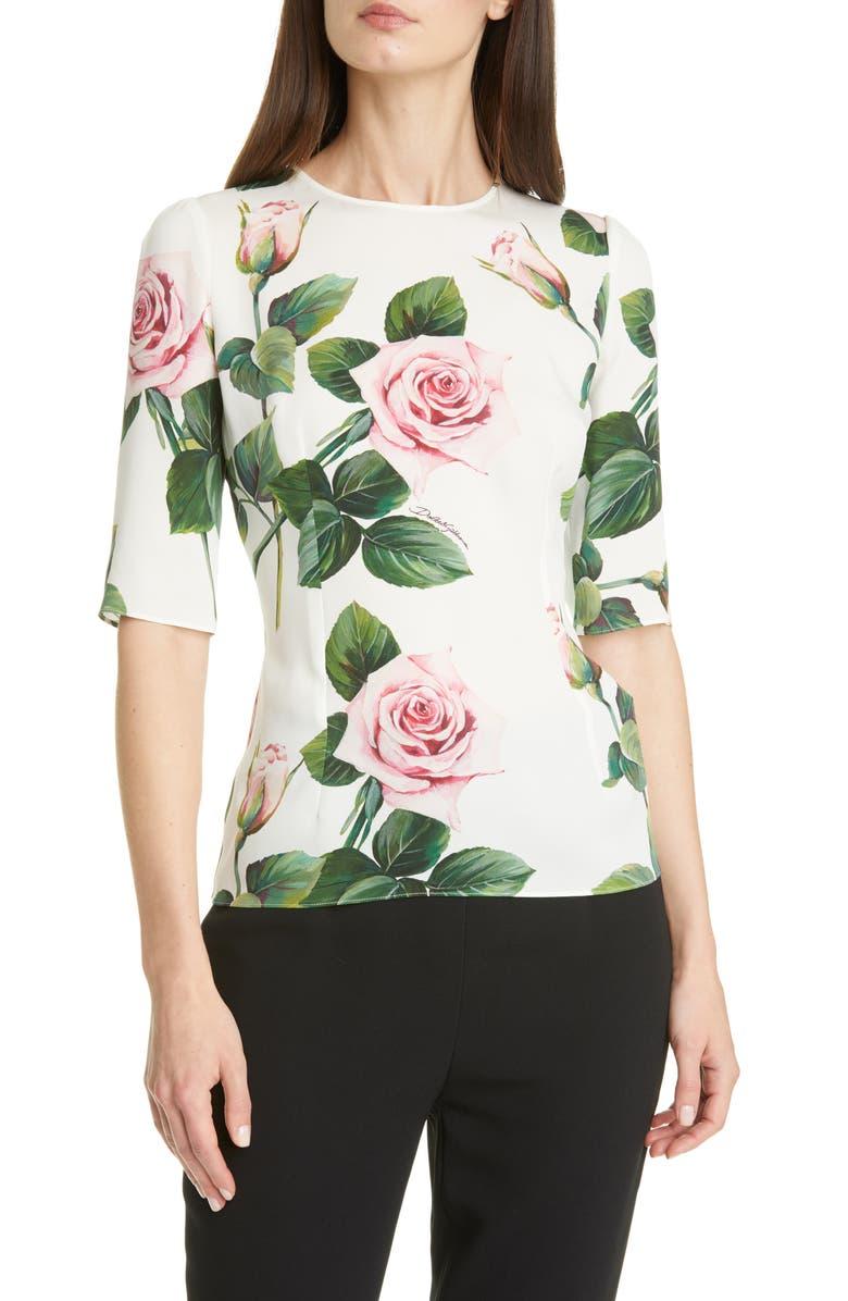 DOLCE&GABBANA Rose Print Stretch Silk Charmeuse Top, Main, color, 115