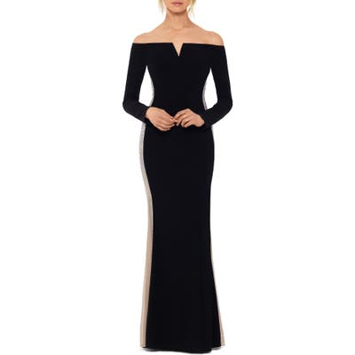 Xscape Off The Shoulder Evening Gown, Black
