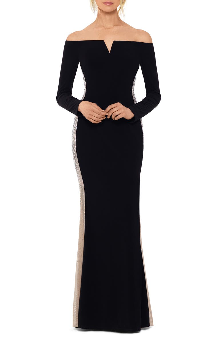 XSCAPE Off the Shoulder Evening Gown, Main, color, BLACK/ NUDE/ SILVER