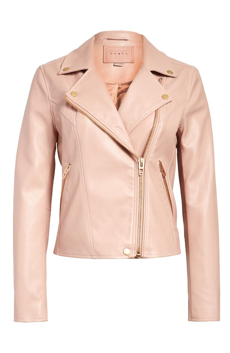 BLANKNYC Life Changer Moto Jacket, Main, color, BLUSH W/ GOLD TRIM