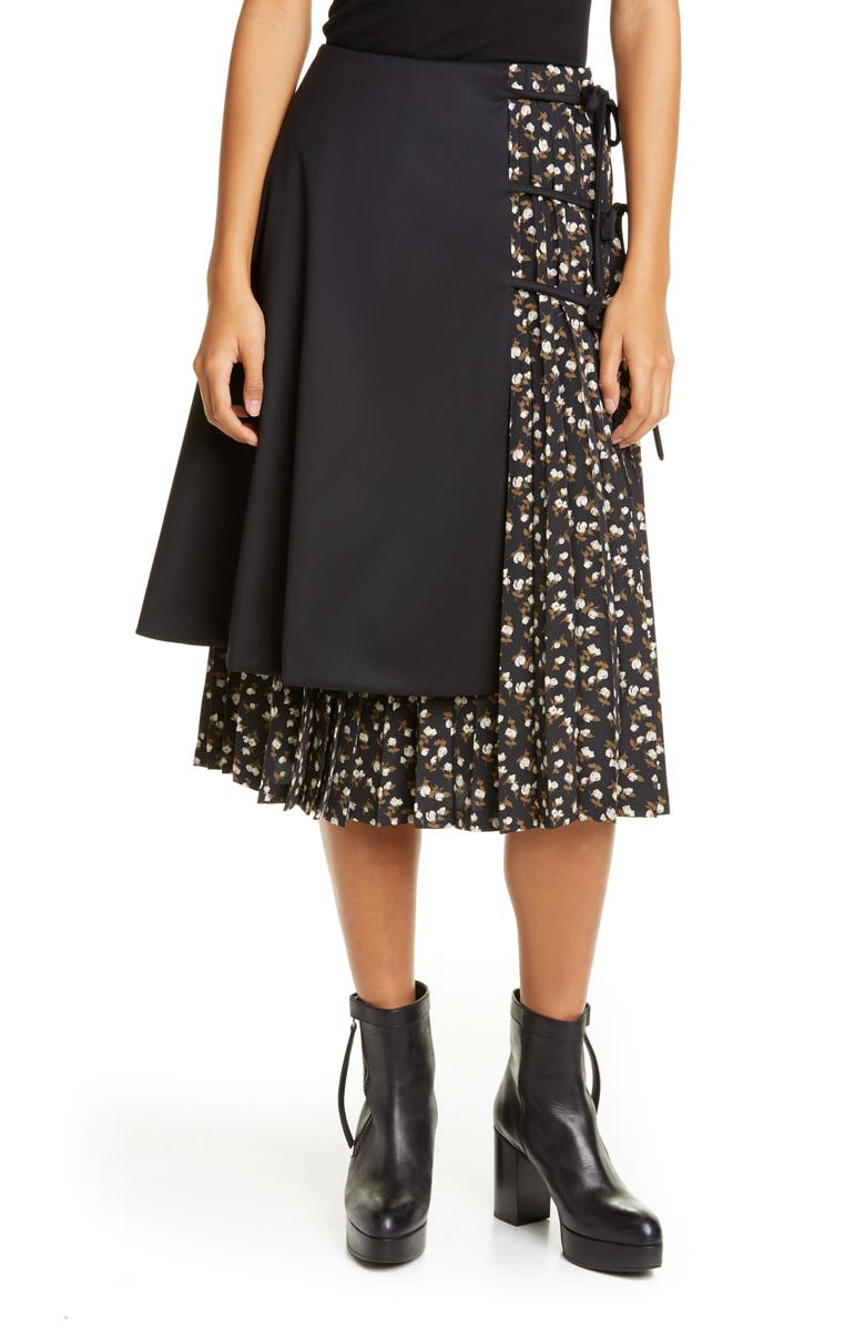 NOIR KEI NINOMIYA Wool Panel Pleated Floral Skirt, Main, color, BLACK