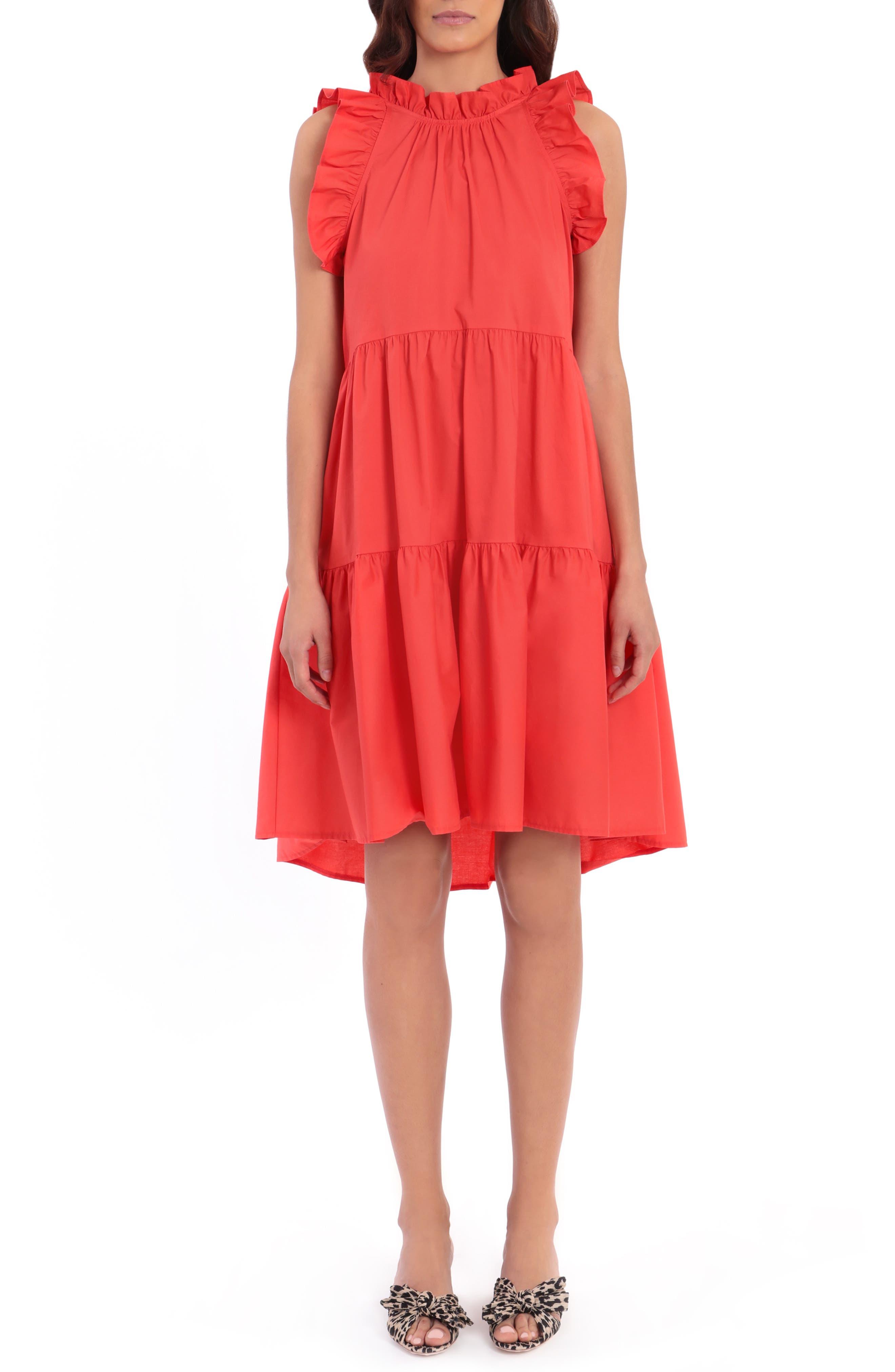 Tiered Ruffle Sleeveless Stretch Cotton Poplin Shift Dress