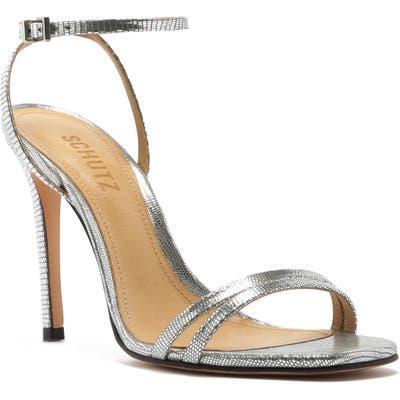 Schutz Altina Ankle Strap Sandal, Metallic