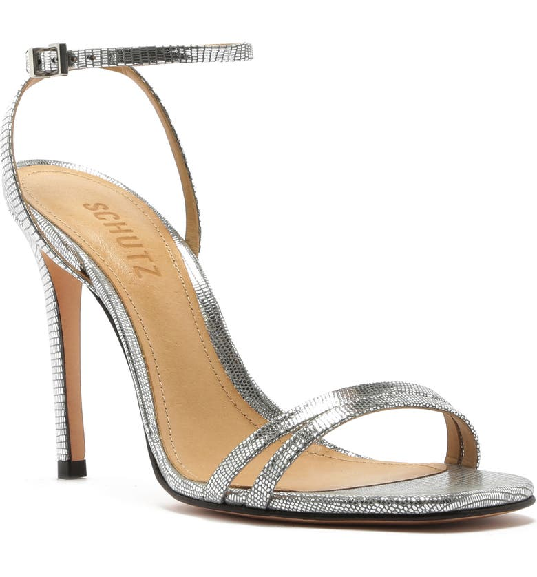 SCHUTZ Altina Ankle Strap Sandal, Main, color, PRATA