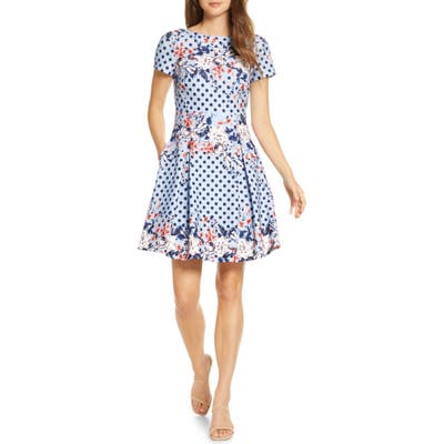 Petite Eliza J Floral Dot Scuba Crepe Fit & Flare Dress, Blue