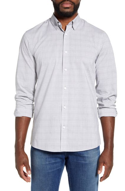 Image of NORDSTROM MEN'S SHOP Tech-Smart Trim Fit Plaid Button-Up Shirt