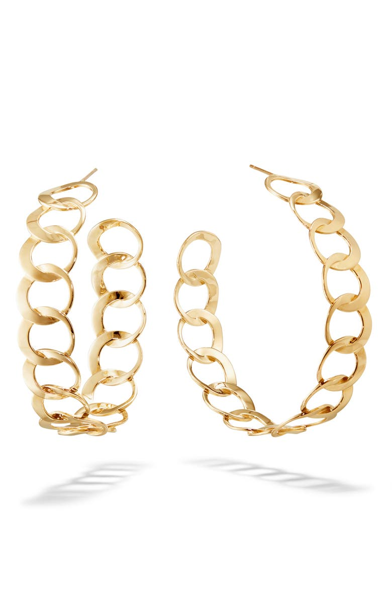 LANA JEWELRY Casino Wide Bond Hoop Earrings, Main, color, YELLOW GOLD