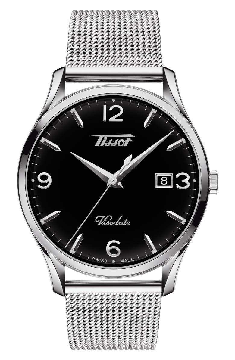 TISSOT Heritage Visodate Mesh Strap Watch, 40mm, Main, color, SILVER/ BLACK/ SILVER