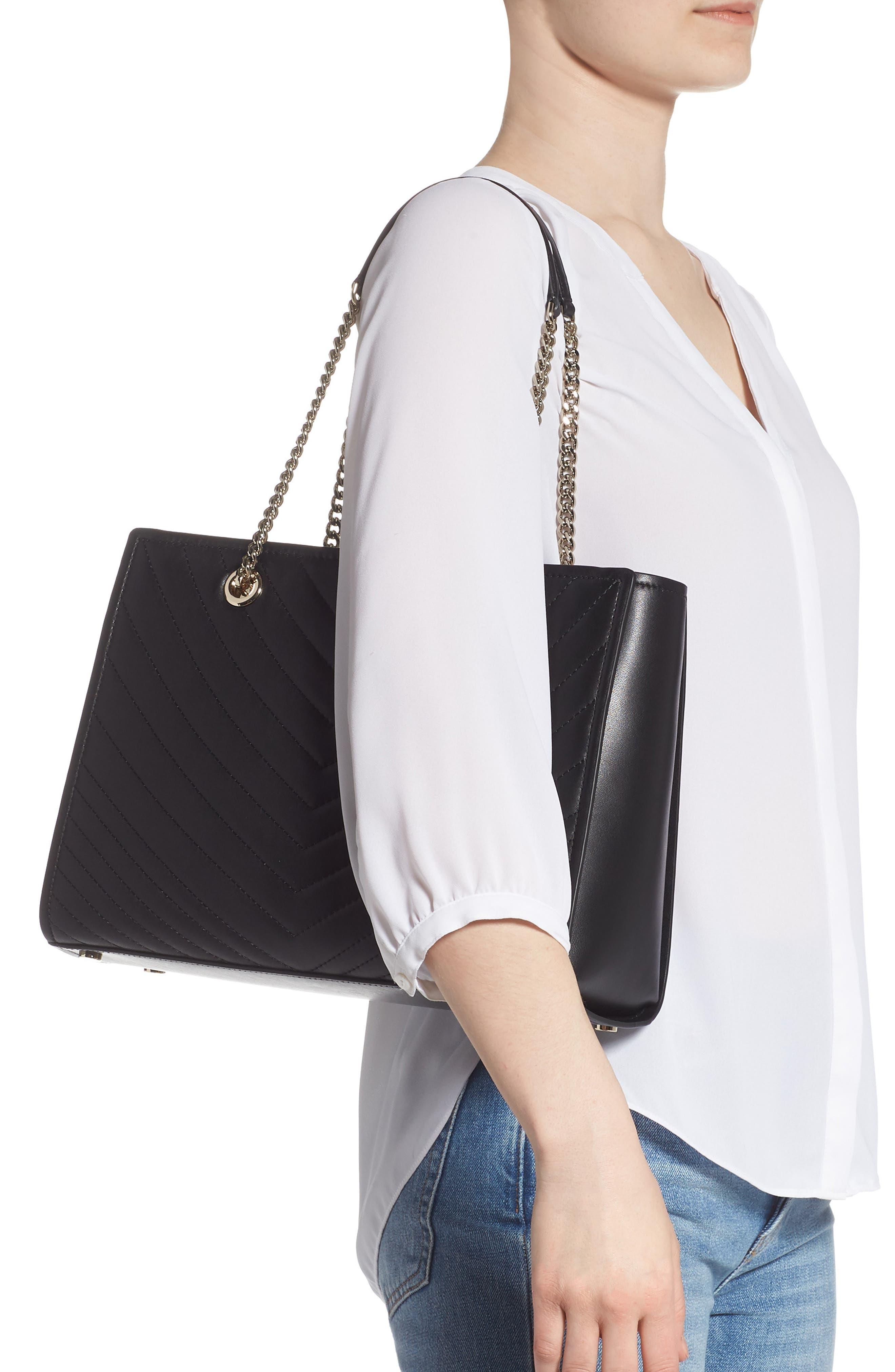 ,                             large amelia leather tote,                             Alternate thumbnail 2, color,                             BLACK