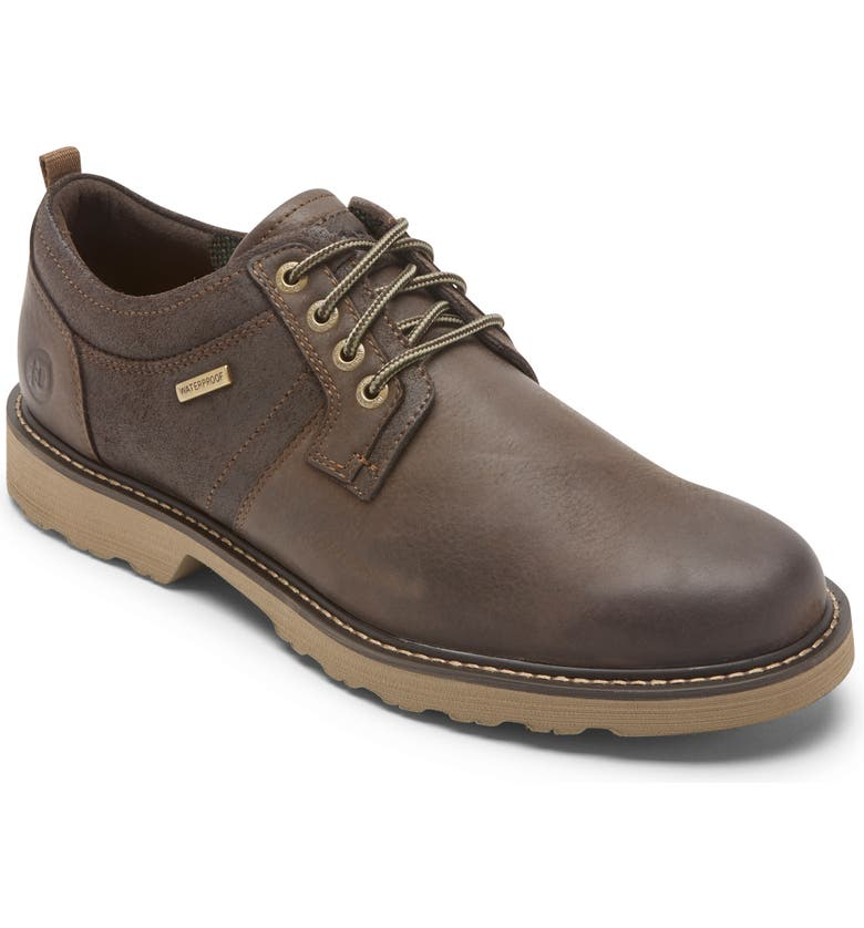 DUNHAM Jake Waterproof Plain Toe Oxford, Main, color, DARK BROWN