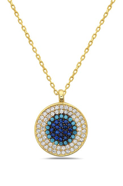 Image of Best Silver Inc. 18K Gold Plated Sterling Silver Crystal Round Ombre Blue Evil Eye Necklace