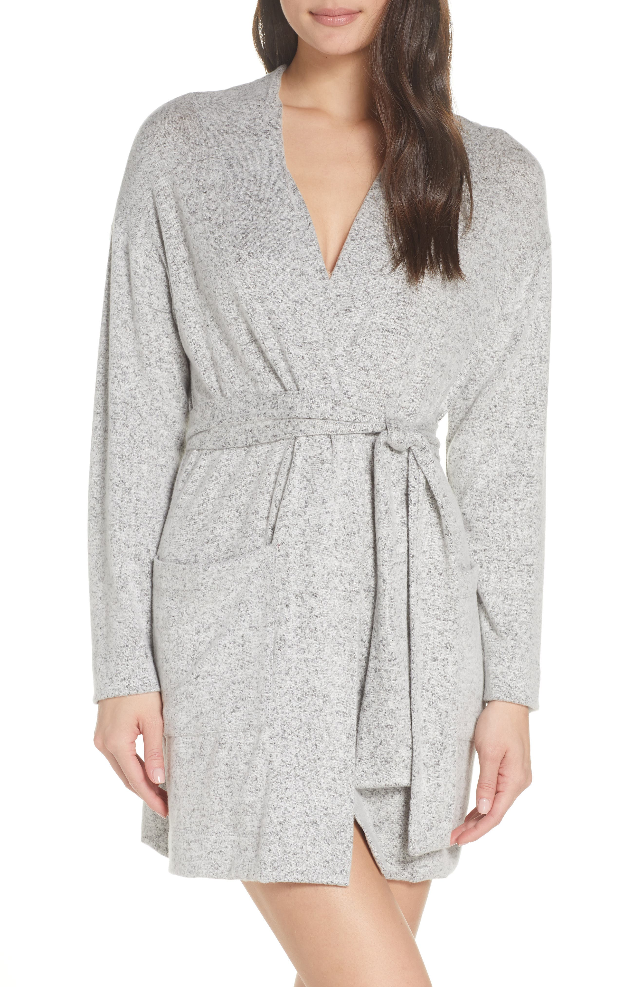 ,                             Brushed Hacci Wrap Robe,                             Main thumbnail 1, color,                             OFF WHITE BLACK