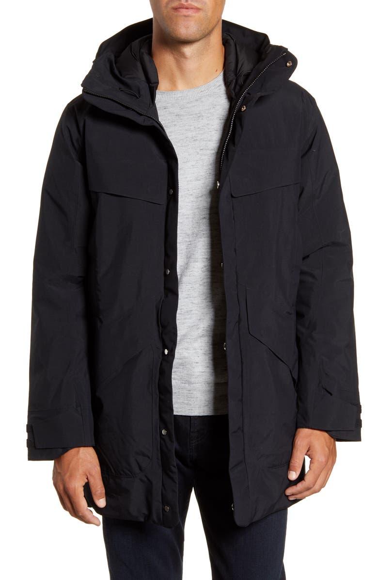 GOLDWIN Spur Hooded Down Coat, Main, color, BLACK