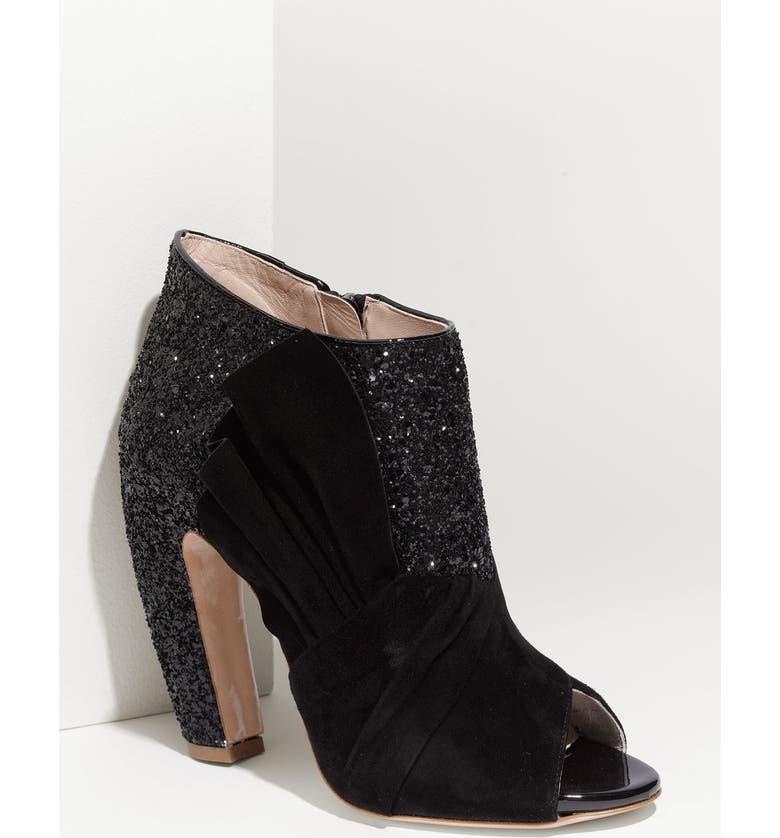 MIU MIU Open Toe Glitter Ankle Boot, Main, color, NERO