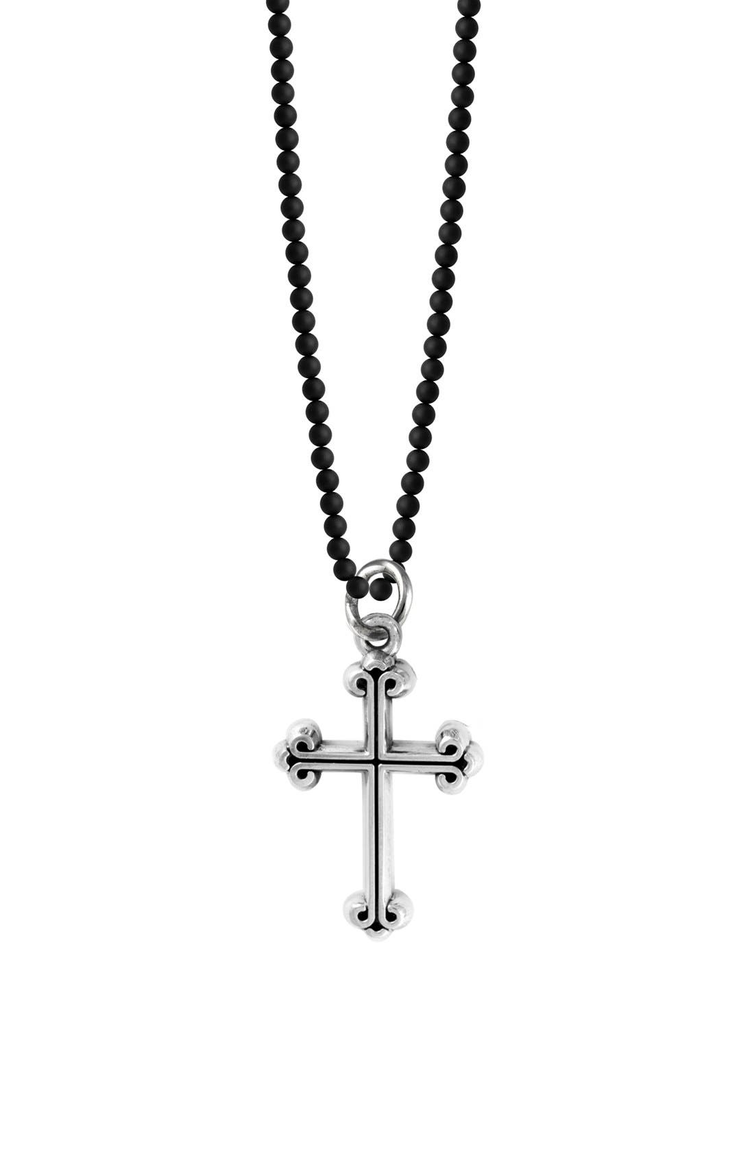Sterling Silver & Onyx Cross Pendant Necklace