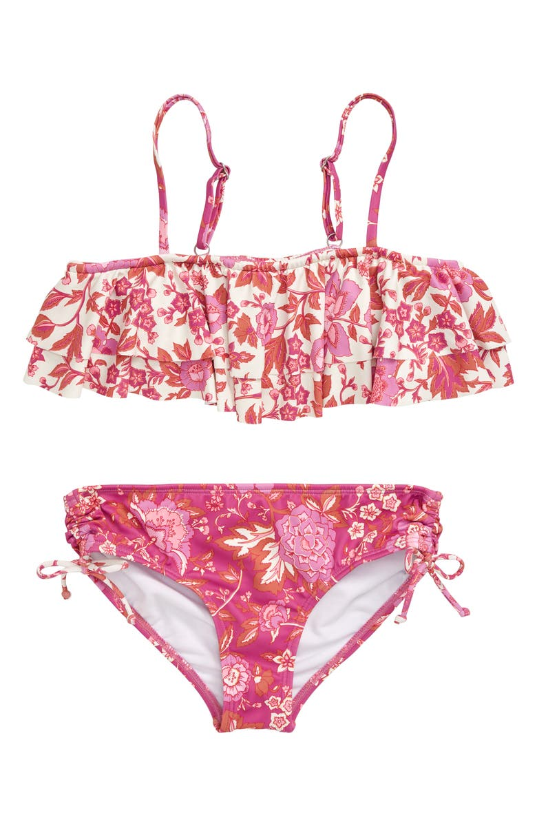 BILLABONG Take a Trip Ruffle Two-Piece Swimsuit, Main, color, MULTI PINK