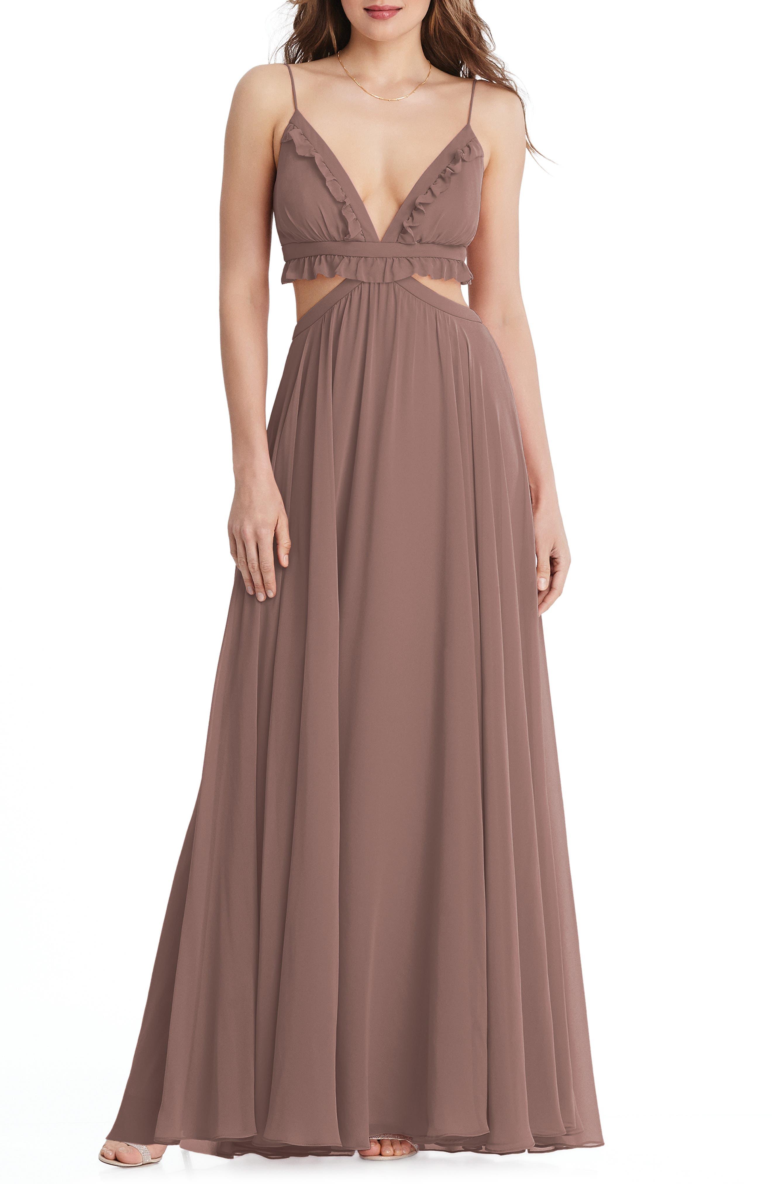 Jessie Ruffle Trim Chiffon Gown