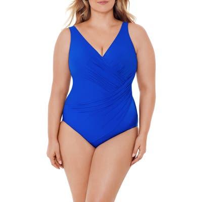 Plus Size Miraclesuit Must Have Oceanus One-Piece Swimsuit, Blue