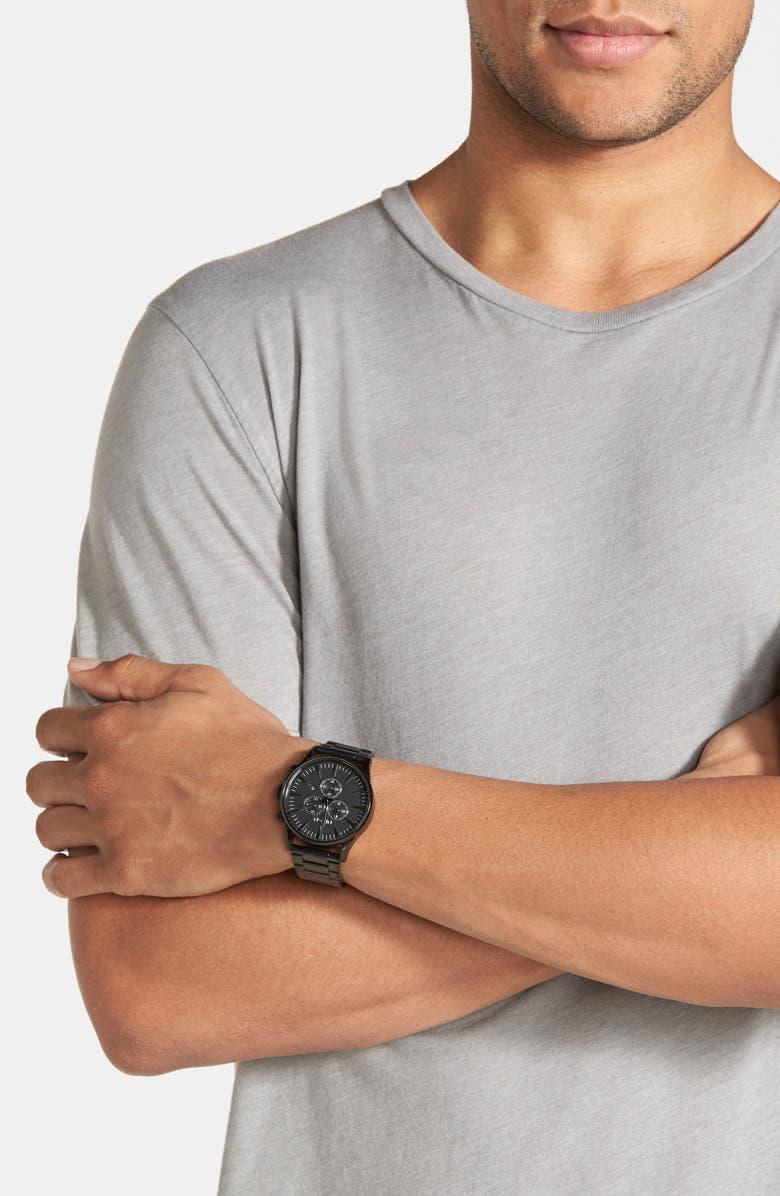 NIXON 'The Sentry' Chronograph Bracelet Watch, 42mm, Main, color, ALL BLACK