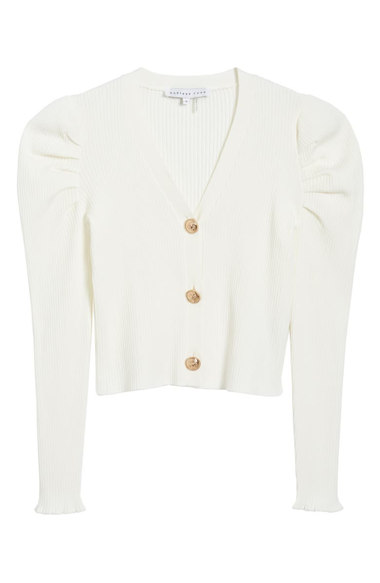ENDLESS ROSE Puff Sleeve Cardigan, Main, color, WHITE