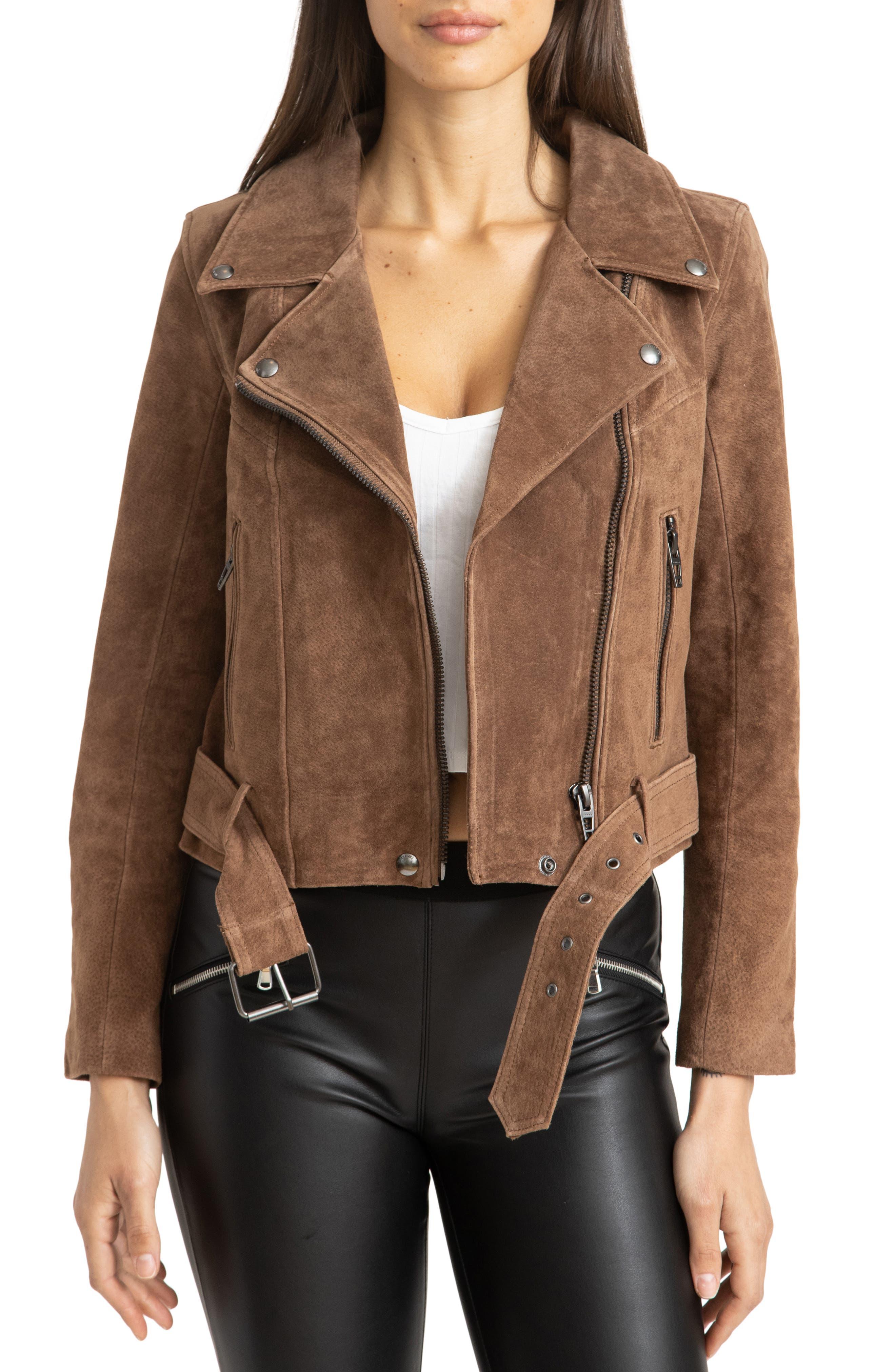 Women's Blanknyc Suede Moto Jacket, Size Large - Brown